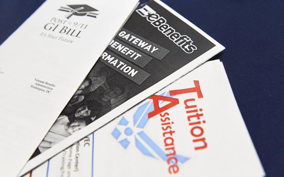 Pamphlets regarding educational benefits are displayed as part of the 2018 Fairchild Air Force Base Education Fair at Fairchild Air Force Base, Washington, Oct. 18, 2018.