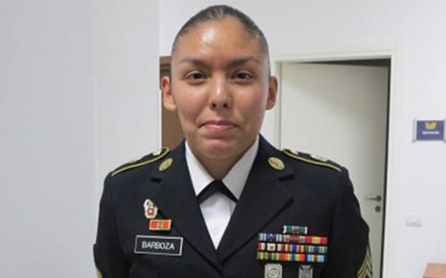Sgt. 1st Class Jessica Barboza stands outside a Vicenza courtroom after being acquitted on charges of dereliction of duty, maltreatment and disrespecting a noncommissioned officer on Jan. 9, 2019. The case went to special court-martial after Barboza refused nonjudicial punishment.