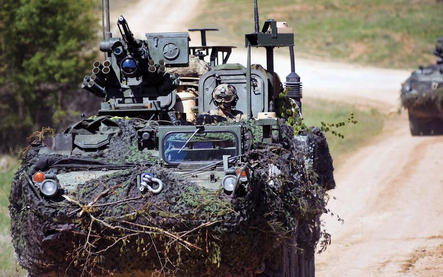 American soldiers speed toward their objective in a Stryker during Exercise Saber Junction in Hohenfels, Germany, in 2017.  Gen. Mark Milley, the Army's chief of staff, said Wednesday a push is under way to send more units to the National Training Center in Fort Irwin, Ca. and the similar center in Hohenfels.