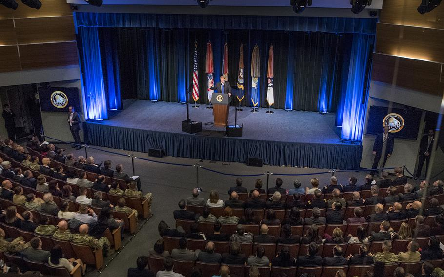 """President Donald Trump addresses an audience at the Pentagon on Thursday, Jan. 17, 2019, as he announced a """"new era in missile defense."""""""
