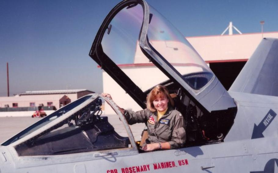 Rosemary Mariner is shown in the 1990s when she was commanding officer of a squadron on the West Coast.