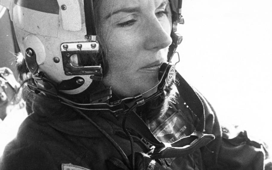 Ensign Rosemary Conatser, whose married name later became Rosemary Mariner, at the controls of an antisubmarine aircraft at Naval Air Station Oceana, Virginia, on Jan. 9, 1975.