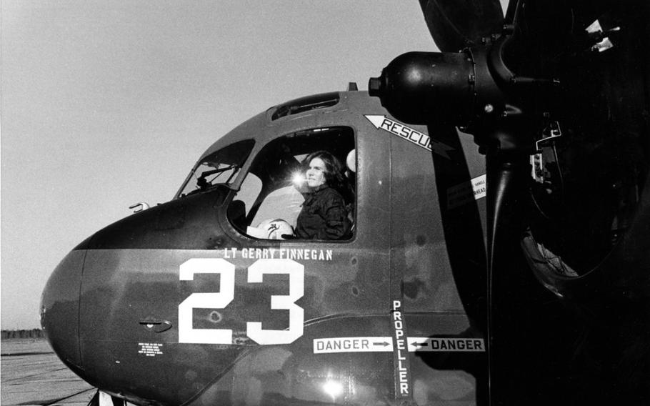 Ensign Rosemary Conatser (later Mariner) in the cockpit of an antisubmarine aircraft at Naval Air Station Oceana on Jan. 9, 1975.