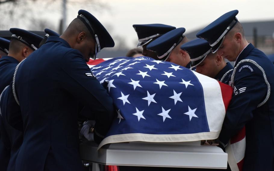 The U.S. Air Force Honor Guard performs full military honors during the funeral of Marcelite Harris at Arlington National Cemetery, Arlington, Virginia, Feb. 7, 2019.