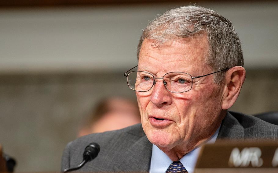 Chairman of the Senate Armed Services Committee Sen. Jim Inhofe, R-Okla., speaks during a hearing on Capitol Hill in Washington on Tuesday, March 5, 2019. Inhofe said he backs funding efforts focused on deterring Russia.