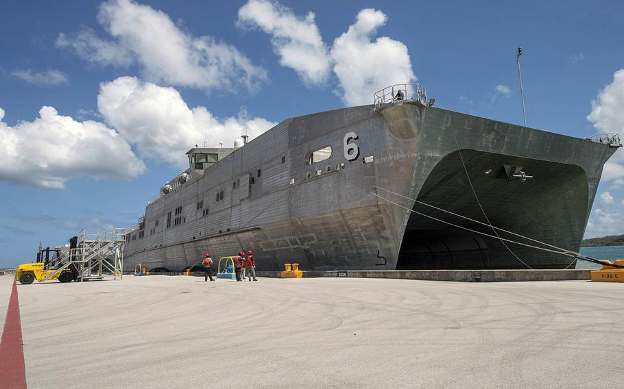 The fast-transport ship USNS Brunswick, shown here March 16, 2018, in Guam, set sail Monday, March 4, 2019, for the mulitnational Pacific Partnership operation.