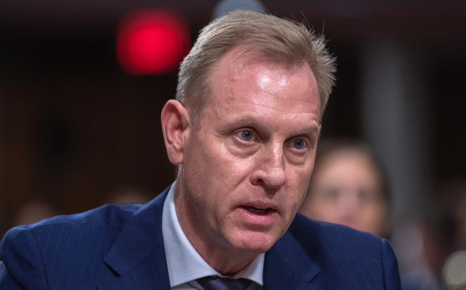 Acting Secretary of Defense Patrick Shanahan testifies during a Senate Armed Services Committee hearing on Capitol Hill in Washington on Thursday, March 14, 2019.