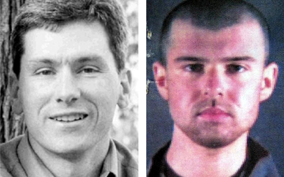 """The parents of CIA paramilitary officer and Marine Corps veteran Mike Spann, left, are speaking out about the expected release in May of John Walker Lindh, right, dubbed the """"American Taliban"""" after his battlefield capture, who they hold responsible for their son's death."""