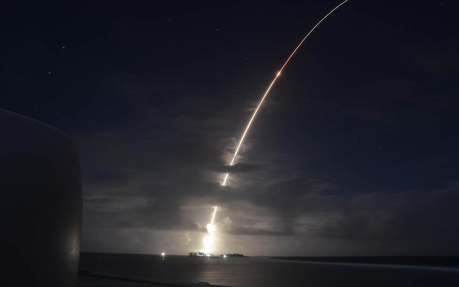 An ICBM target launches from Kwajalein Atoll in the Marshall Islands, Monday, March 25, 2019.