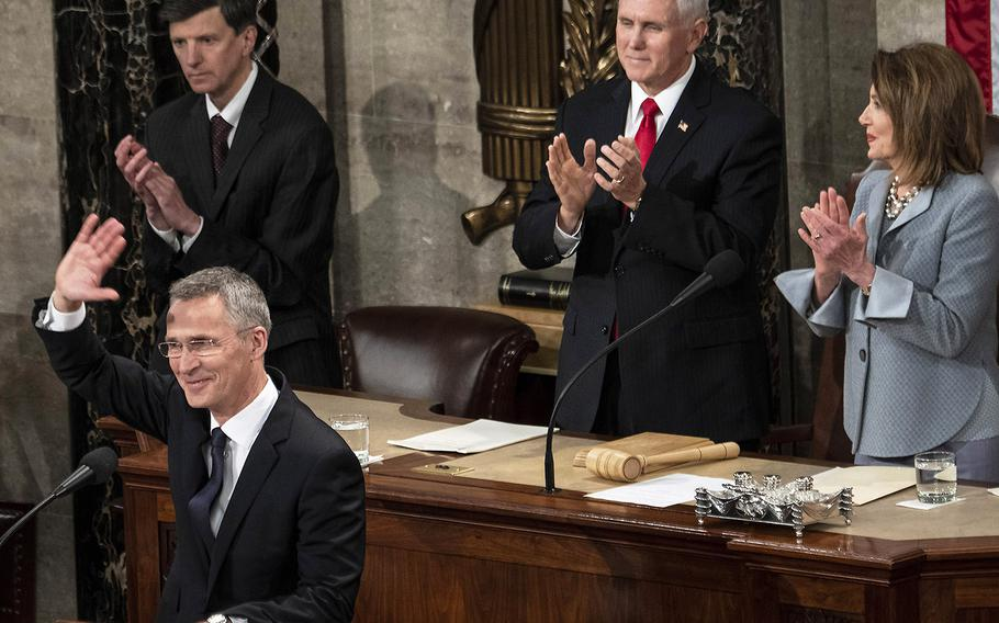 Vice President Mike Pence and House Speaker Nancy Pelosi applaud as NATO Secretary General Jens Stoltenberg acknowledges the cheers during a joint session of Congress at the U.S. Capitol, April 3, 2019.