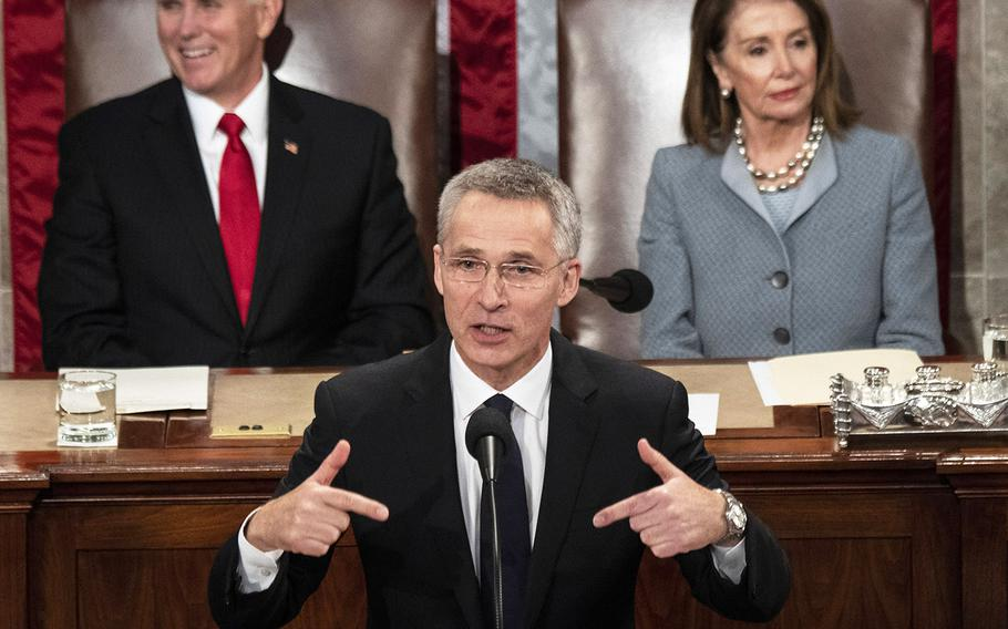 NATO Secretary General Jens Stoltenberg addresses a joint session of Congress at the U.S. Capitol, April 3, 2019.