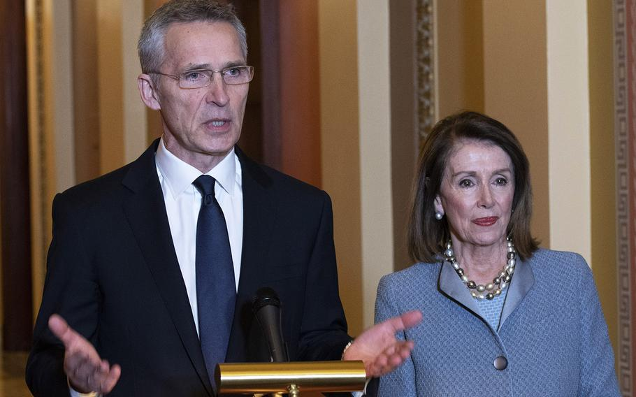 NATO Secretary General Jens Stoltenberg speaks during a photo opportunity with House Speaker Nancy Pelosi before he addressed a joint session of Congress at the U.S. Capitol, April 3, 2019.