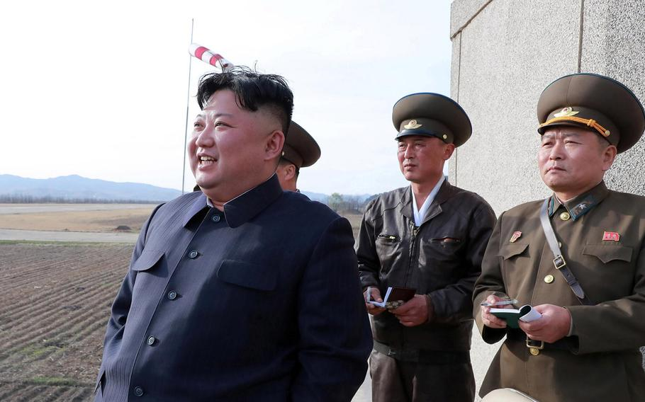 North Korean leader Kim Jong Un smiles in a photo released by the Korean Central News Agency, Wednesday, April 17, 2019.
