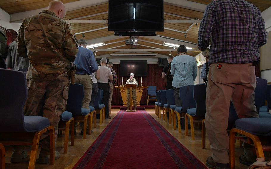 Forward Support Base Chaplain Maj. Kathy Scott delivers an Easter sermon at NATO's Resolute Support headquarters in Kabul, Afghanistan, on Sunday, April 21, 2019.