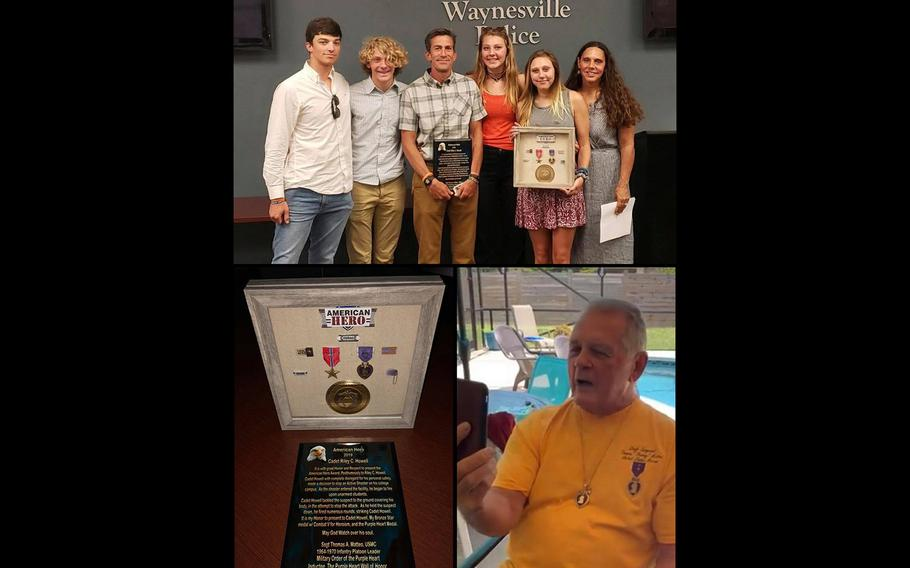 """The parents and siblings of Riley Howell, top, hold a plaque and framed medals that were presented from the Waynesville, N.C., Police Department and Haywood County Sheriff Greg Christopher. The medals were donated by Marine Corps veteran Thomas """"Stormy"""" Matteo, seen below."""