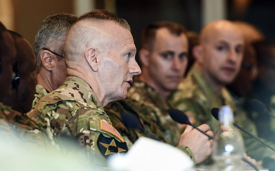 The Pentagon's top enlisted leader, Command Sgt. Maj. John W. Troxell, speaks during a panel discussion at a U.S. Africa Command conference for African senior enlisted leaders at the Edelweiss Lodge and Resort in Garmisch-Partenkirchen, Germany, on Tuesday, August 13, 2019.
