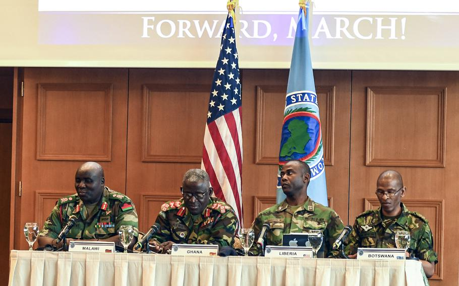 African defense chiefs or their representatives speak about the importance of empowering noncommissioned officers at a conference U.S. Africa Command hosted for African senior enlisted leaders at the Edelweiss Lodge and Resort in Garmisch-Partenkirchen, Germany, on Tuesday, August 13, 2019. From left to right, the officers are Malawi's Gen. Vincent Thom Nundew, Ghana's Lt. Gen. Obed Boamah Akwa, Liberia's Maj. Gen. Prince Charles Johnson III and Botswana's Maj. Gen. Mpho Mophuting.