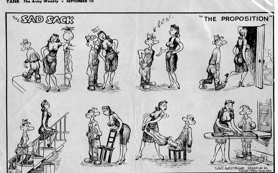 While he was overseas in 1943, Ben Reise sent Ruth Reise a clipping of this comic strip by George Baker which had been published in Yank, the Army's weekly magazine that ran during World War II. Ruth said that Ben's friends would make fun of his dedication to her and compared him to the character in this comic strip.