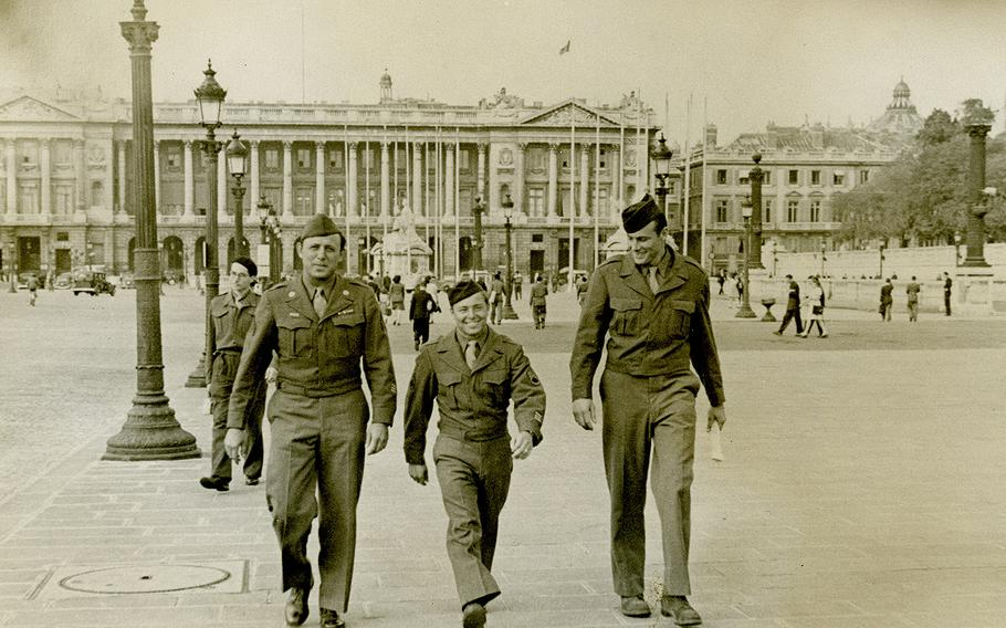 While overseas, Ben Reise, middle, walks down the street with two other servicemen. Reise stood at 5 feet, 4 inches tall and served as a staff sergeant in the Air Force.