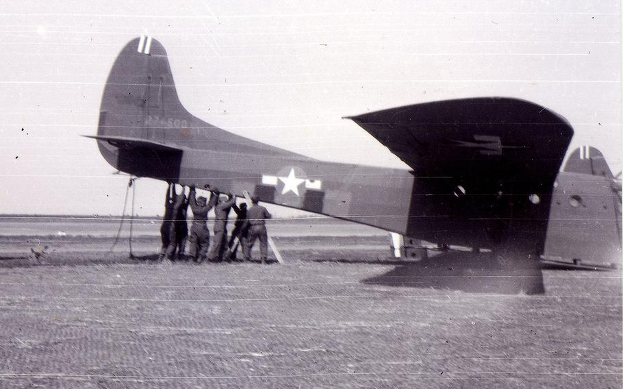 An Air Force crew works on a glider, an engineless aircraft, in 1943. Ben Reise, who was a staff sergeant at the time, was the flight chief of the glider section of his regiment. He would later earn a bronze star for his role in the air borne invasions of Southern France and the Netherlands.