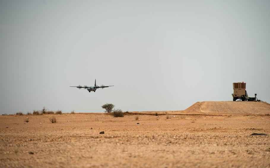 A U.S. Air Force C-130J Super Hercules assigned to the 37th Airlift Squadron at Ramstein Air Base, Germany, lands at Nigerien Air Base 201, Agadez, Niger, in August 2019. The U.S. Air Force began drone operations out of the base, to gather intelligence on Islamic militants in the region, U.S. Africa Command said Friday, Nov. 1, 2019.