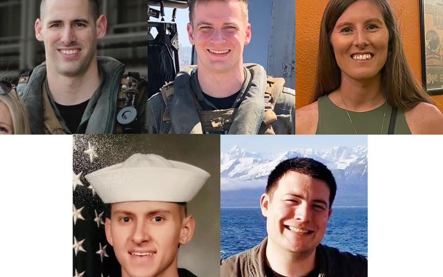 Naval Air Crewman (Helicopter) 2nd Class James P. Buriak, Lt. Paul R. Fridley, Hospital Corpsman 2nd Class Sarah F. Burns, Hospital Corpsman 3rd Class Bailey J. Tucker and Lt. Bradley A. Foster were killed when an MH-60S Seahawk helicopter, assigned to Helicopter Sea Combat Squadron 8, crashed approximately 60 nautical miles off the coast of San Diego, Aug. 31.