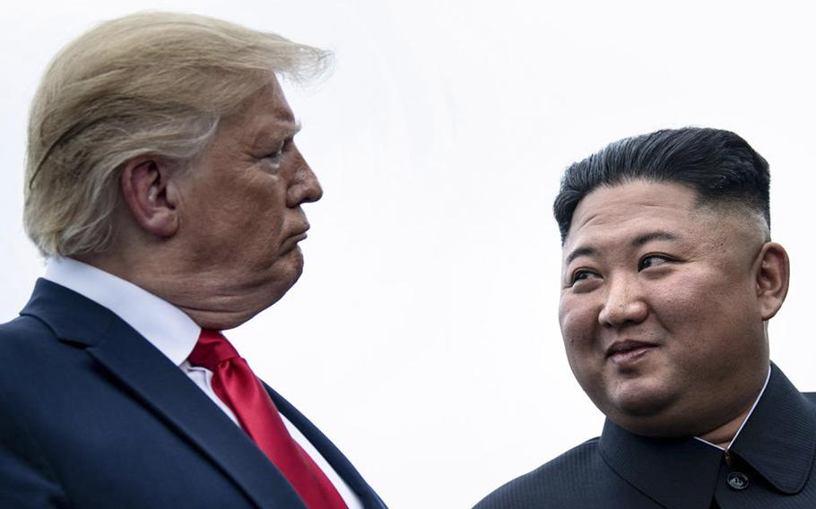 President Donald Trump and North Korean leader Kim Jong Un talk before a meeting in the Demilitarized Zone near Panmunjom, North Korea, in June, 2019.