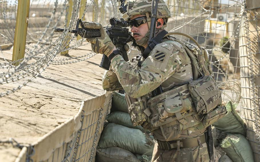 Sgt. Cory Castillo, a Cavalry Scout assigned to the 1-108th Cavalry Regiment of the 48th Infantry Brigade Combat Team, provides security during a key leader engagement in Kapisa province, Afghanistan, in February, 2019.