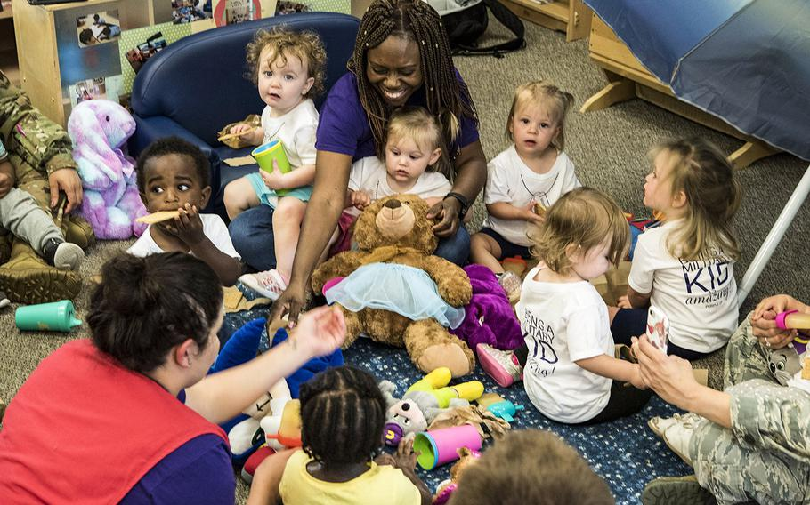 Children take part in the Teddy Bear Picnic, April 26, 2019, at Moody Air Force Base, Ga. The Air Force has requested $20 million in its fiscal 2022 proposed budget for only one child-care development center to be replaced at Sheppard Air Force Base in Wichita Falls, Texas, despite a Defense Department report last year identifying more than 70 service child-care facilities need upgrades.