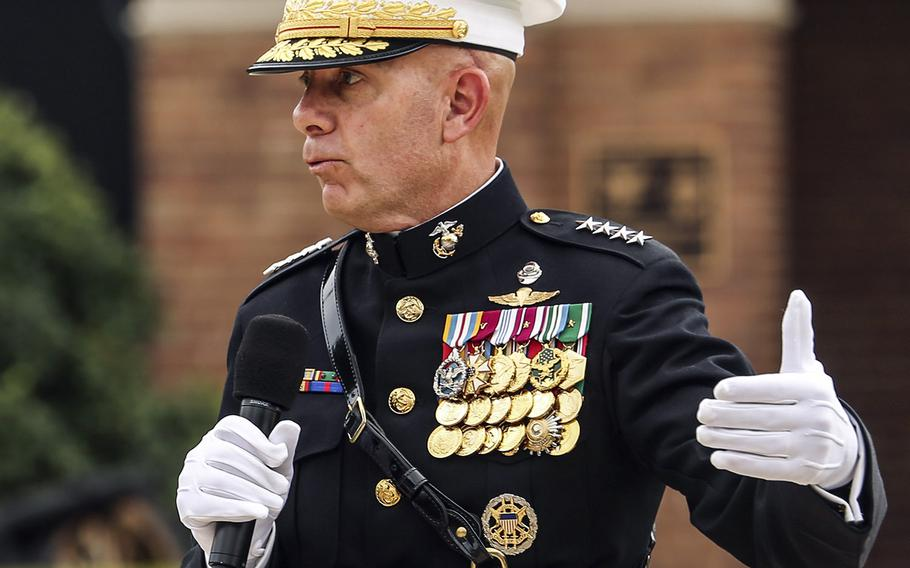 Gen. David Berger, 38th commandant of the Marine Corps, speaks during a passage of command ceremony at Marine Barracks in Washington in July.