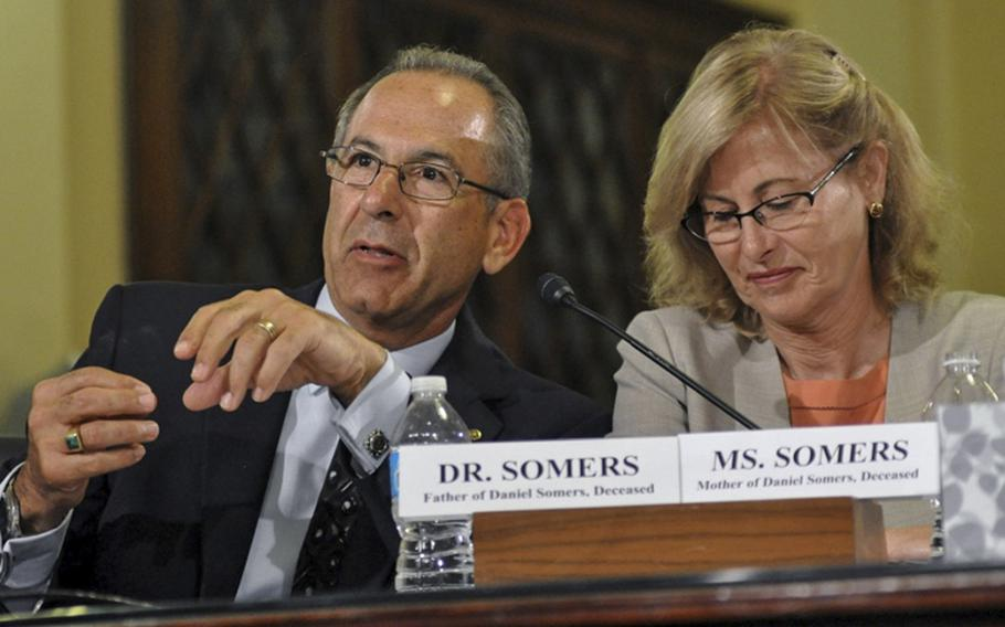 Howard and Jean Somers testify before the House Veterans' Affairs Committee at the Capitol in Washington in 2014.