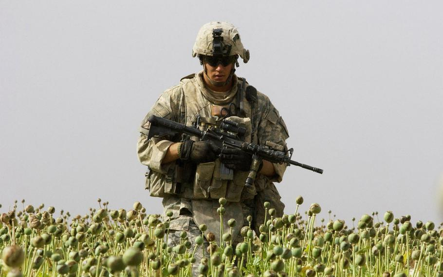 Staff Sgt. Calvin Gibbs in Afghanistan's Kandahar province, in a 2010 photo.