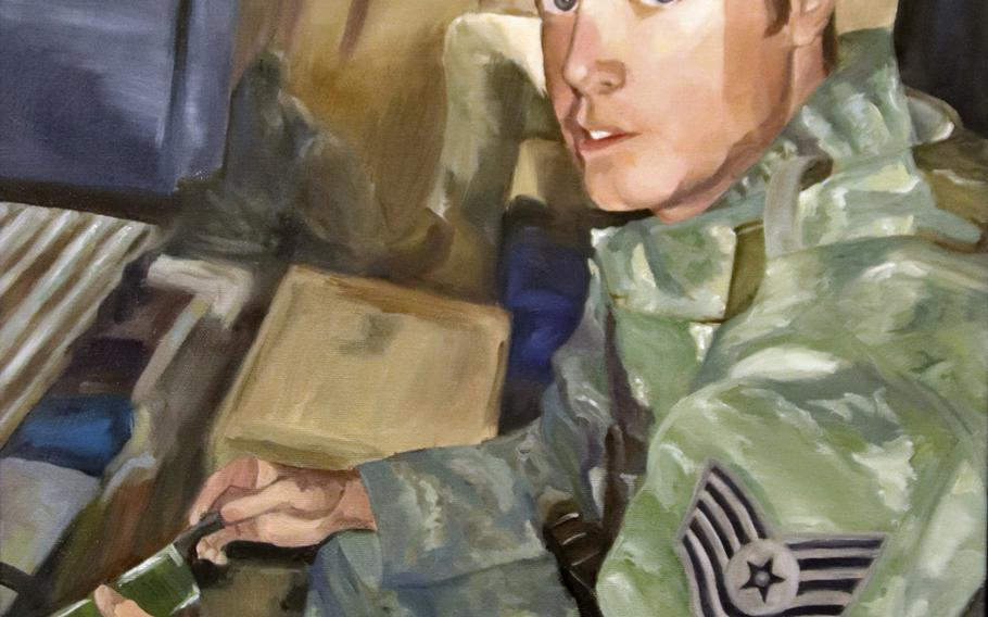 A painting of Tech. Sgt. Adam K. Ginett is displayed inside the Airman Leadership School at Aviano, which was renamed in honor of Ginett in a ceremony held Feb. 13, 2020. Ginett was killed by a remote-detonated explosive device, January, 19, 2010 in Afghanistan.