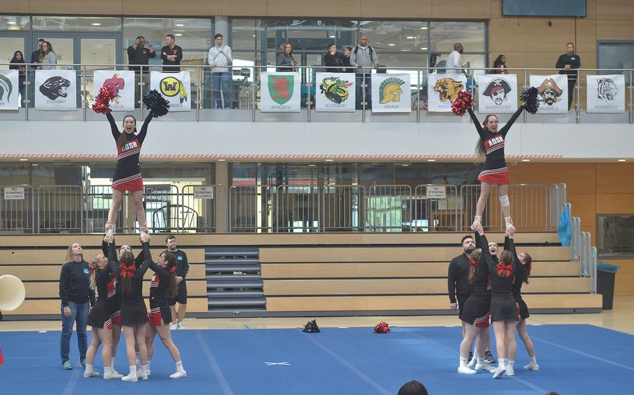 The American Overseas School of Rome cheer squad used partner stunts during its routine for the 2020 DODEA-Europe Cheerleading tournament.