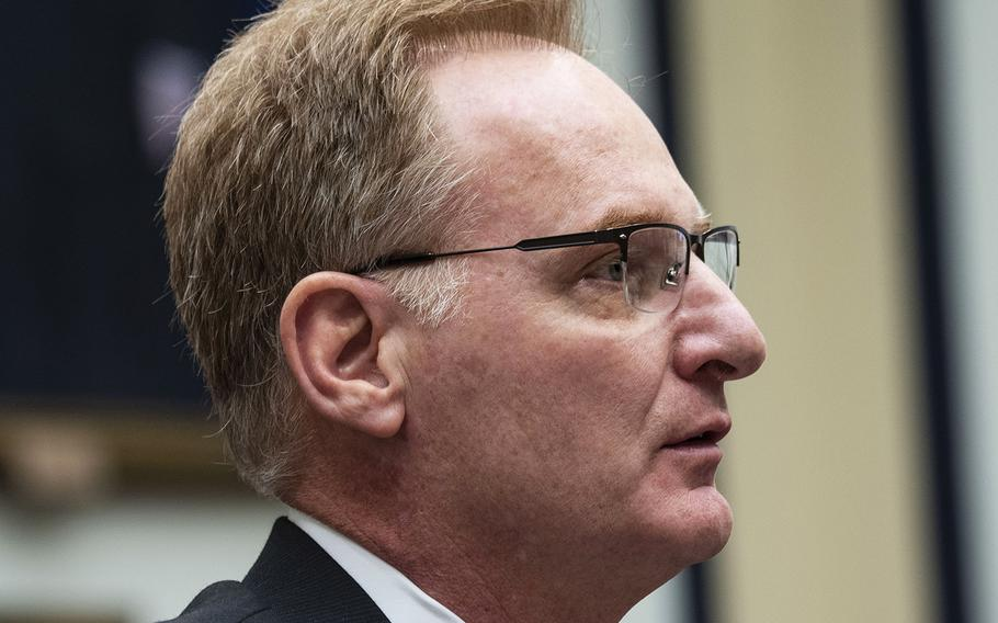 Acting Navy Secretary Thomas Modly testifies at a House Armed Services Committee hearing in February 2020.