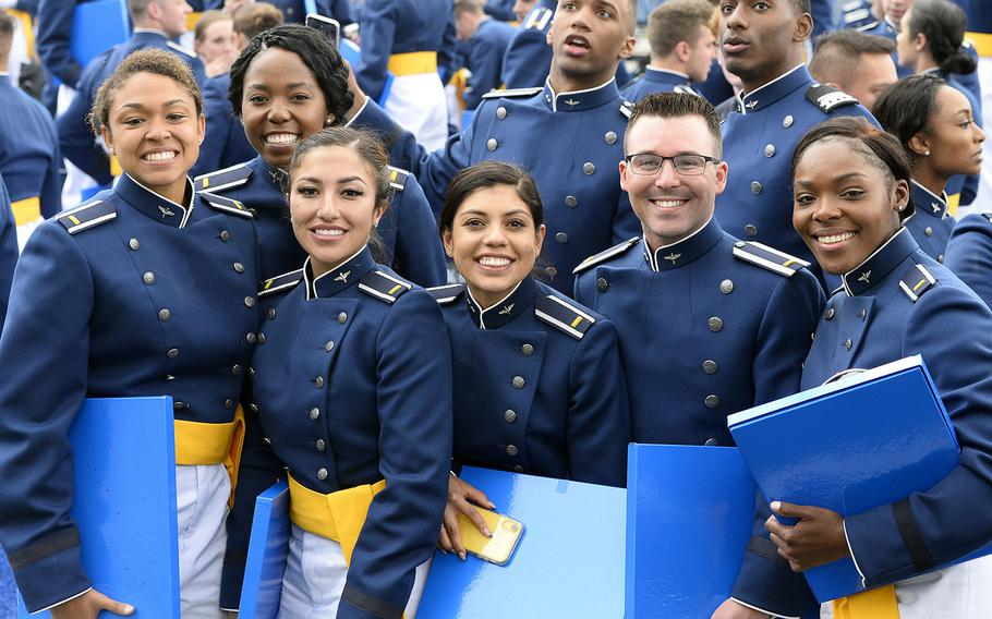 When the Air Force Academy holds its graduation ceremony this weekend, celebrating second lieutenants will have to keep a lot more distance than these 2019 grads were able to.