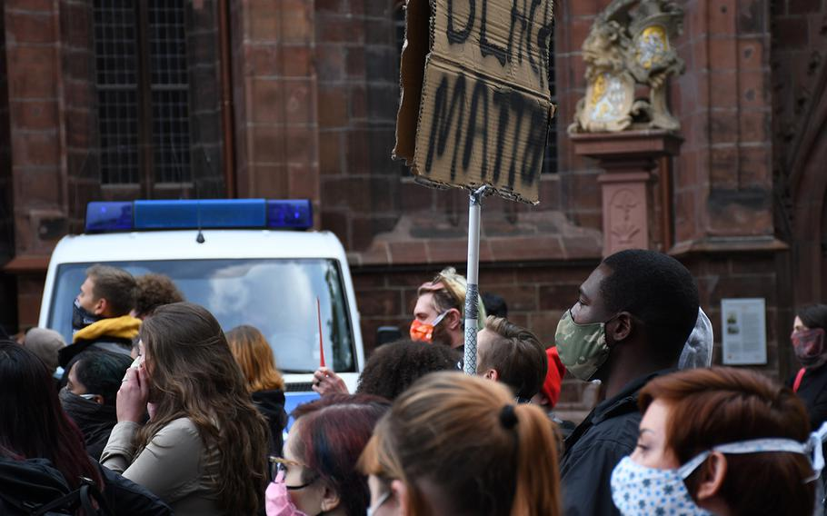 A man is pictured here holding a ''black matters'' sign during an anti-racism rally in downtown Kaiserslautern on Thursday, June 4, 2020. The event was held in response to widespread U.S. protests spurred by the death of an unarmed Minnesota black man, George Floyd, while in police custody in late May.