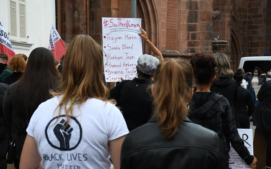 Protesters gathered in Kaiserslatuern on Thursday, June 4, 2020, to rally against racism and inequality in response to widespread demonstrations in the U.S. in the wake of the killing of an unarmed Minneapolis black man, George Floyd, in late May. Four Minneapolis police officers have been charged in connection with the death.