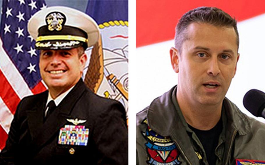 Capt. Vincent Segars, left, and Cmdr. Joshua Fuller were killed in a plane crash Wednesday, June 10, 2020, near Selma, Ala.