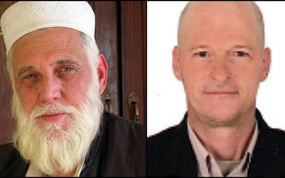 L-R: Author Paul Overby, was last seen in eastern Khost province in May 2014. Former Navy diver and longtime contractor Mark Frerichs went missing in Afghanistan in early February of 2020.