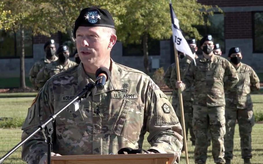 Lt. Gen. John Kolasheski, V Corps commanding general, speaks at the unit's activation ceremony Oct. 16, 2020, at Fort Knox, Ky.