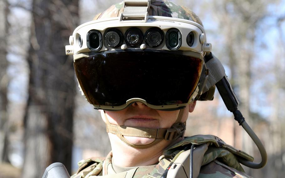A Soldier dons the Integrated Visual Augmentation System (IVAS) Capability Set 3 (CS3) at Fort Belvoir, Va., in January 2021.