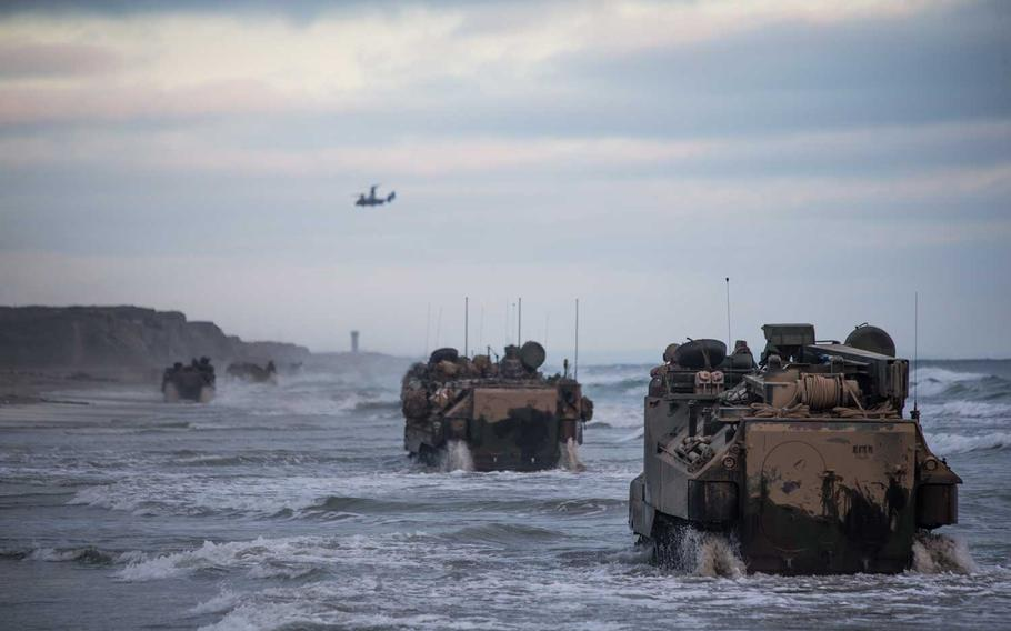 U.S. Marines drive assault amphibious vehicles through the surf during training at Marine Corps Base Camp Pendleton, California, July 14, 2020. Marines at Camp Pendleton were back in the ocean with AAVs this week.