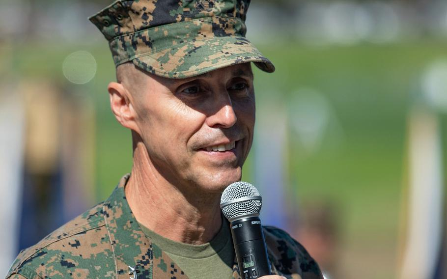 U.S. Marine Corps Maj. Gen. Robert F. Castellvi, the outgoing commanding general of the 1st Marine Division, speaks during a change of command ceremony held at Marine Corps Base Camp Pendleton, California, Sept. 22, 2020. Castellvi was suspended from his duties after an investigation into the deadly sinking last year of an amphibious assault vehicle determined he was in part responsible for the accident.