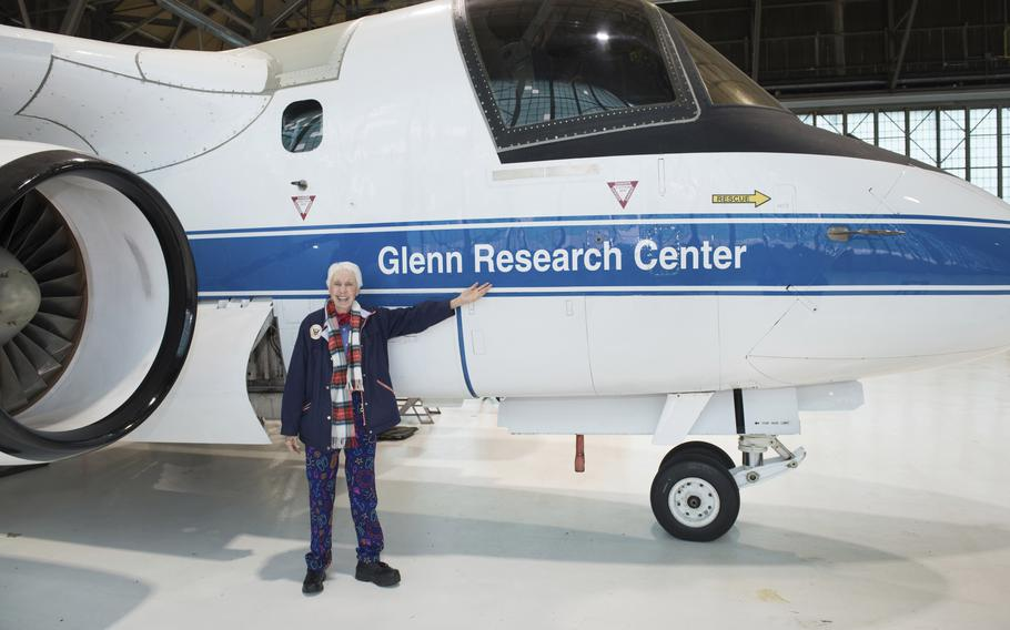 """In this 2019 photo made available by NASA, Mercury 13 astronaut trainee Wally Funk visits the Glenn Research Center at Lewis Field in Cleveland, Ohio. On Thursday, July 1, 2021, Blue Origin announced the early female aerospace pioneer will be aboard the company's July 20 launch from West Texas, flying as an """"honored guest."""""""