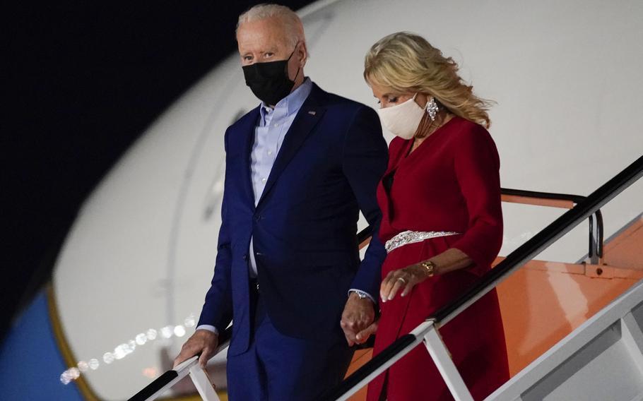 President Joe Biden and first lady Jill Biden arrive at LaGuardia International Airport, Friday, Sept. 10, 2021, in New York.