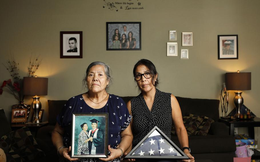 Maria Noriega and her daughter Sonia Jimenez sit in their home on Sunday, August 15, 2021, in San Diego, CA. Maria's son and Sonia's brother 1st Lt. Oscar Jimenez, 34, was killed in 2004 in an ambush while serving near Fallujah, Iraq.