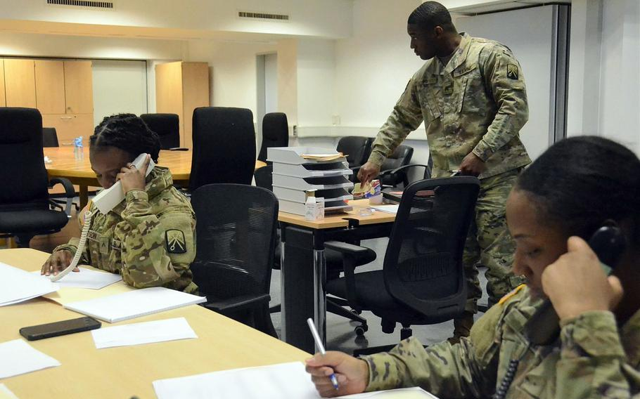 U.S. Army Team Trace members coordinate with their Air Force and host nation counterparts from the team's operations center in Kaiserslautern, Germany. If a case of COVID-19 is diagnosed, members of Team Trace identify who the infected individual may have been in close contact with in the 48 hours prior to onset of symptoms.