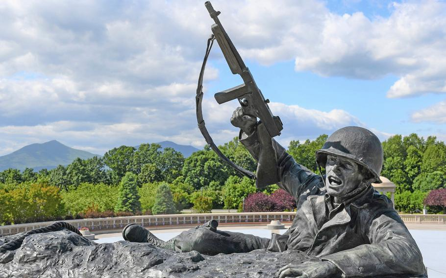 The National D-Day Memorial in Bedford, Va., on May 14, 2019. Bedford, the small community near the Blue Ridge foothills, was chosen as the site of the memorial because of the its disproportionately high losses during the invasion of Normandy.