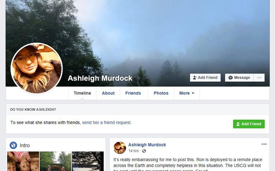 """""""This is really embarrassing for me to post this,"""" Ashleigh Murdock wrote on her Facebook page as she told of how Coast Guard members, to include her deployed husband, were facing the prospect of not getting paid on Tuesday, Jan. 15, 2019, due to the government shutdown."""